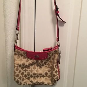 Coach Madison khaki op art Sateen crossbody purse